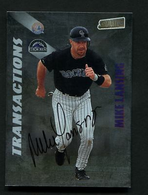 Mike Lansing Autograph Signed 1998 Topps Stadium Club Transactions Rockies