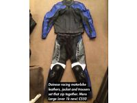 Dainese Motorbike leathers set, pair, jacket and trousers Men's large bike gear