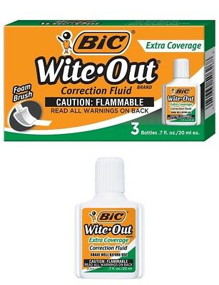 White Out Correction Fluid Liquid Paper 0.7oz Each Cover It 3 Pack By Bic