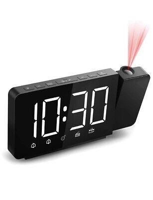 360° Projection Alarm Clock Radio 6 Large Digital LED Display&Dimmer