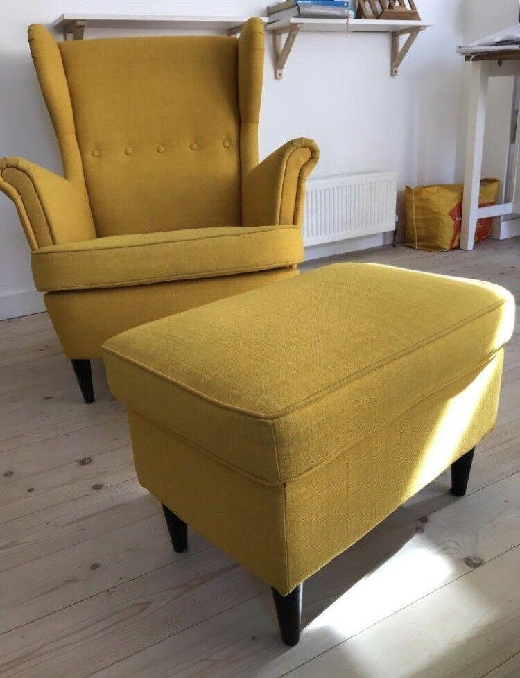 Ikea Strandmon Yellow Wingback Armchair And