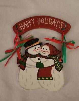 Vintage  Mr & Mrs Snowman  Happy Holidays Plaque Wall/Door Hanging~8