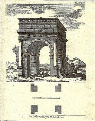 Antique engraving, Triumphbogen zu Laodicea P XXVIII