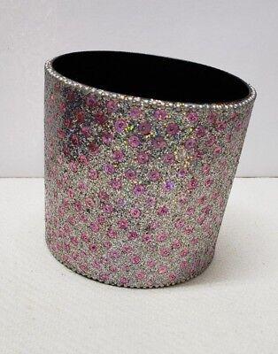 Modern Round Pink Rhinestones Metal Pen Holder Desktop Organizer Accents Vase