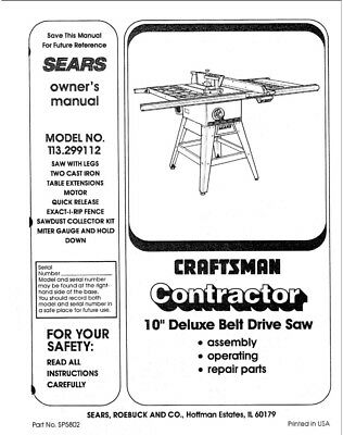 Craftsman 113.299112 Belt Drive Saw Owners Instruction Manual