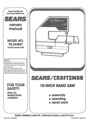 Craftsman 113.244501 Band Saw Owners Instruction Manual