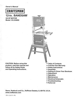 Craftsman 119.224000 Band Saw Owners Instruction Manual