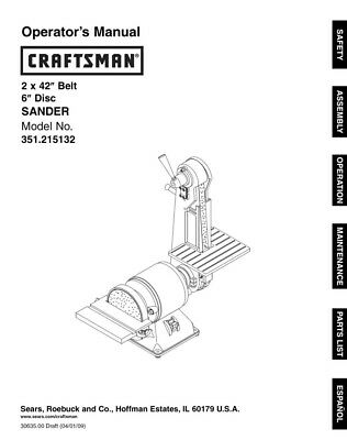 Craftsman 351.215132 Sander Owners Instruction Manual