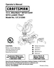 Craftsman 137.212260 Miter Saw Owners Instruction Manual