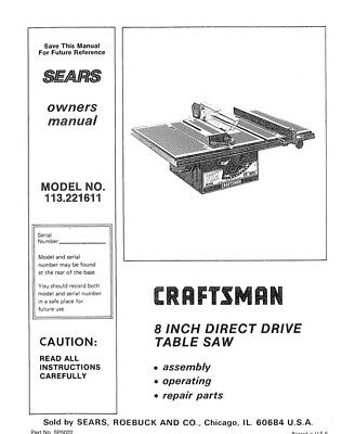 Craftsman 113.221611 Table Saw Owners Instruction Manual