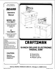 Craftsman 113.198411 113.198611 Radial Saw Owners