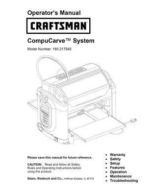 Craftsman 183.217540 CompuCarve System Instruction Manual