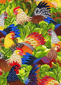 1/2 Yard Hoffman Multi Chicken Salad, Art by Rennie Rau Marquez, Cotton Fabric