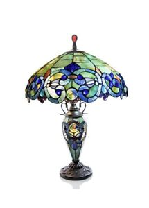 """Tiffany Style 26"""" Victorian Stained Glass Table Lamp - New"""