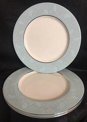 "Dinner Plate Vintage Castleton China CORSAGE 10.75"" Turquoise Platinum Set Of 3"
