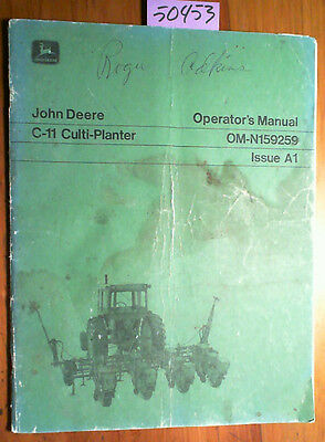 John Deere C-11 Culti-planter Owners Operators Manual Om-n159259 A1 171