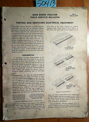 John Deere Testing Servicing Tractor Electrical Equipment Field Service Manual