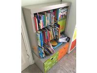 Vertbaudet Children's Bookcase Shelf storage with drawers grey orange green