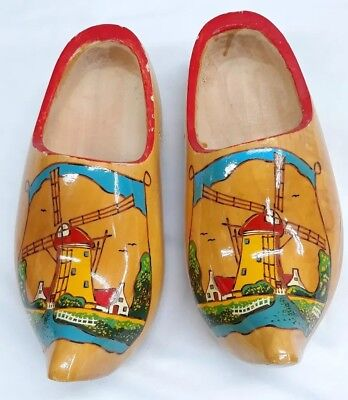- Holland Wood  Carved Shoes Clogs  Approximately  9