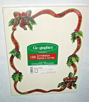 Geographics 100 Sheets Letterhead Paper HOLLY PLAID RIBBON Acid Free Christmas ()