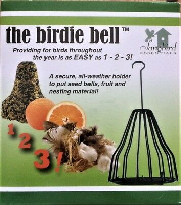 Birdie Bell Cage for Nesting Material, Fruit, Seed Bells, Suet  Bird Feeder