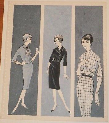 Three Women's Fashion Dresses Illustration Art W/C -50s-Jan Gary