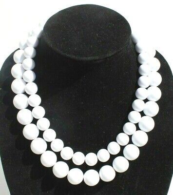 60s -70s Jewelry – Necklaces, Earrings, Rings, Bracelets Vintage 1960s Retro Mod Double White Large Beaded Cocktail Costume Necklace $12.50 AT vintagedancer.com