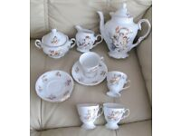 COFFEE SET, pretty fine bone china, Coffee Pot, Jug, Sugar Basin, 4 cups & saucers, cherub & floral