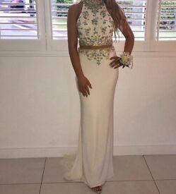 Mori Lee designer Paparazzi two piece prom dress.