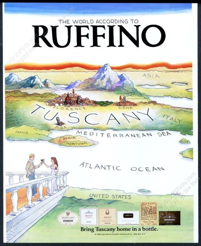 1991 Ruffino wine Tuscany Italy Saul Steinberg homage art vintage print ad