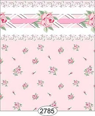 Dollhouse 1:12 Scale Wallpaper - Daniella Floral Toss - Pink