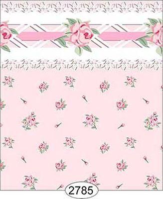 Dollhouse 1:12 Scale Wallpaper - Daniella Floral Toss - Pink