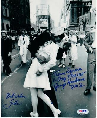 George Mendonsa Greta Friedman signed 8x10 Photo WW2 VJ Kissing Sailor PSA/DNA