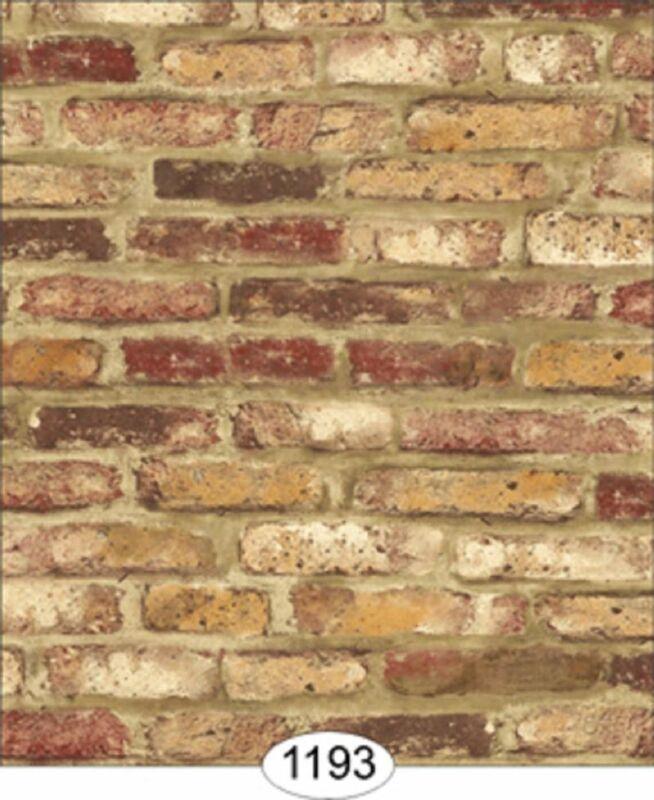 Dollhouse Wallpaper Tumbled Brick Red