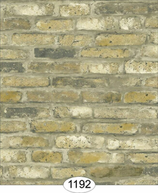 Dollhouse Wallpaper Tumbled Brick Grey