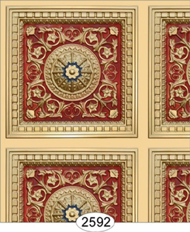 Dollhouse Wallpaper Ceiling Rosette Panel Gold, Red, & Blue