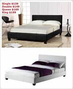 Brand New all sizes PU Leather Bed Frame in Black/White (EH001) Clayton South Kingston Area Preview