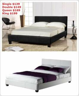 Brand New all sizes PU Leather Bed Frame in Black/White (EH001)