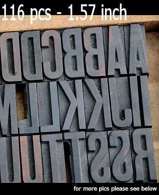 Letterpress Wood Printing Blocks 116 Pcs 1.57 Tall Alphabet Type Woodtype Abc