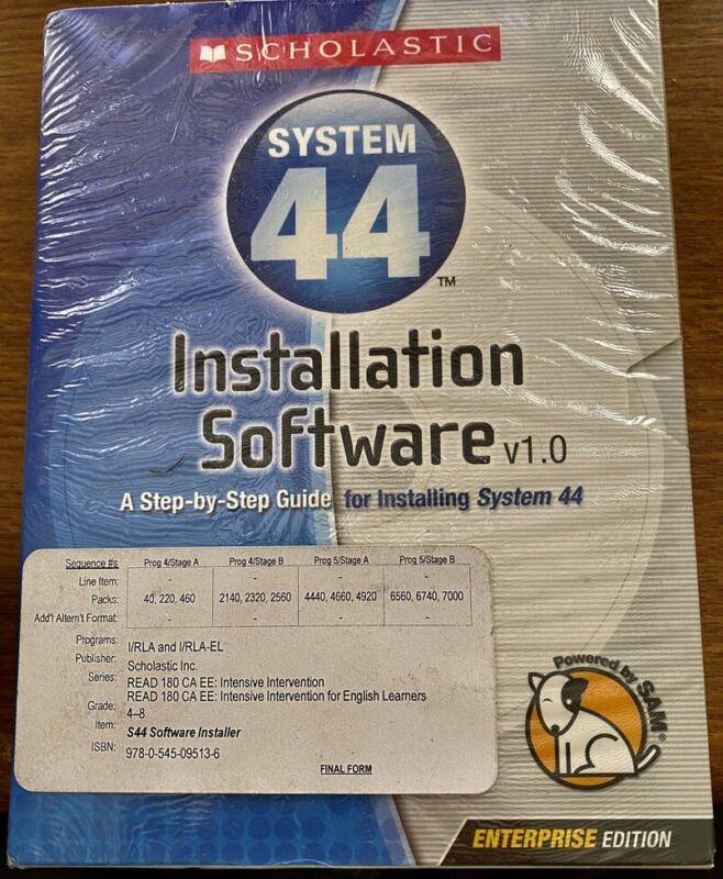 Scholastic System 44 Installation Software 1.0 * SEALED & Unused * Enterprise Ed