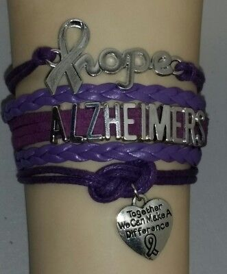 ALZHEIMERS AWARENESS HOPE RIBBON BRACELET -TOGETHER WE CAN MAKE A DIFFERENCE #10 (Alzheimers Awareness)