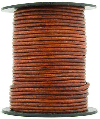Xsotica® Brown Distressed Red Round Leather Cord 1.5mm 10 meters (11 yards)