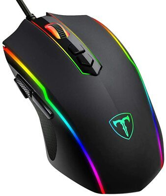NEW Optical Wired Gaming Mouse 8 Programmable Buttons RGB Backlit 7200 DPI Ergon