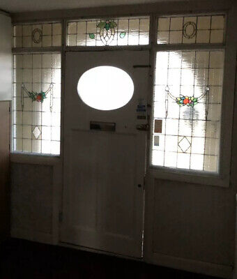 Hand Crafted Vintage Leaded Stained Glass Window Panels Door Surround