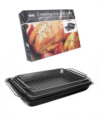 SET OF 3 LARGE ROASTING OVEN TIN TRAYS & RACKS BAKING COOKING GRILL NON STICK