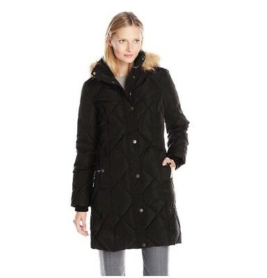 TOMMY HILFIGER Women's Diamond-quilted Down Coat Jacket Faux Fur Trim Hood (Down Fur)