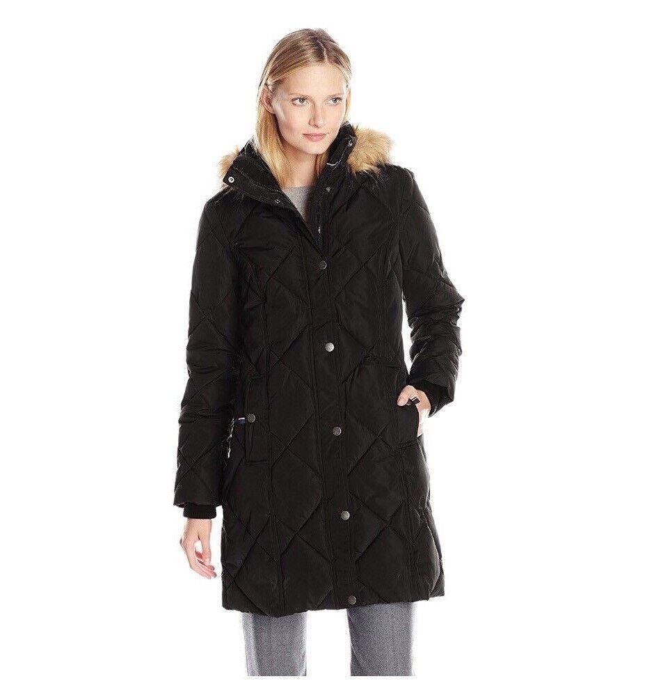 8001385da TOMMY HILFIGER Women's Diamond-quilted Down Coat Jacket Faux Fur Trim Hood  BLACK