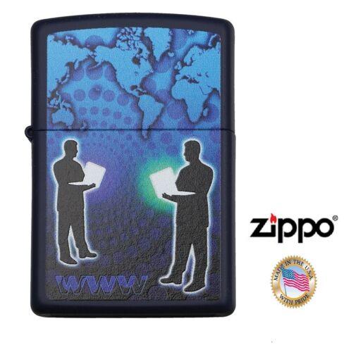 Zippo Lighter Black and Blue WWW World Wide Web art Windproof