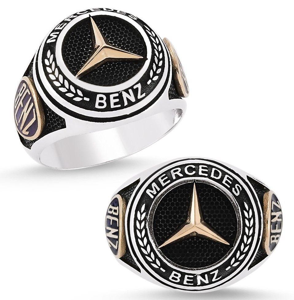 Logotipo de Mercedes Benz Anillo sólido 925 k Anillo de plata esterlina para hombre