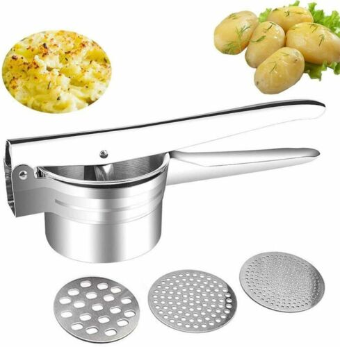 Potato Ricer Masher Premium Stainless Steel 3 Interchangeable Discs Potato Press